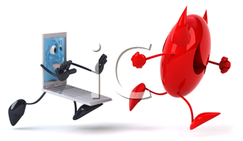 Royalty Free Clipart Image of a Computer Pushing a Virus Away