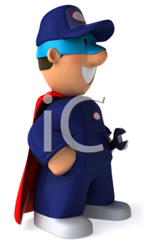 Royalty Free Clipart Image of a Super Mechanic