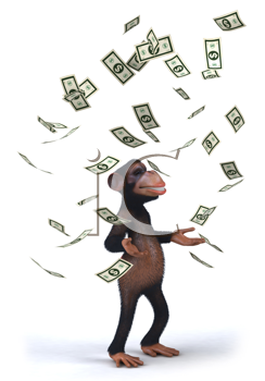 Royalty Free Clipart Image of a Monkey Juggling Dollar Bills
