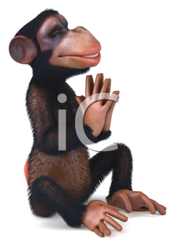 Royalty Free Clipart Image of a Meditating Monkey