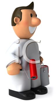 Royalty Free Clipart Image of a Painter With a Red Roller and a Bucket