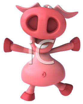 Royalty Free Clipart Image of a Pig Jumping Happily