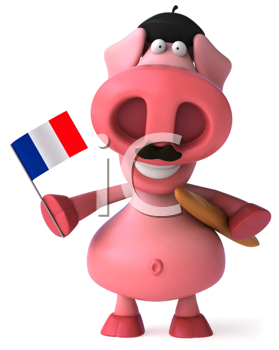 Royalty Free Clipart Image of a French Pig