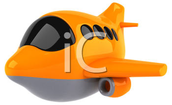 Royalty Free Clipart Image of an Orange Plane