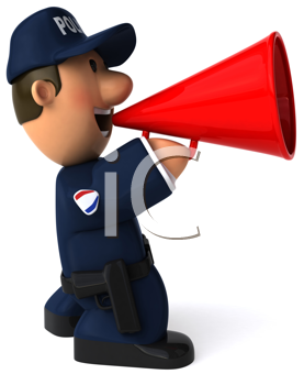 Royalty Free Clipart Image of a Police Man With a Megaphone