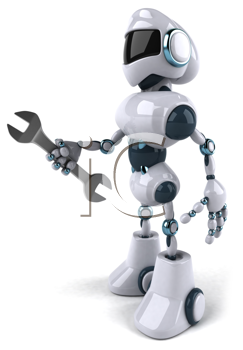 Royalty Free Clipart Image of a Robot With a Wrench