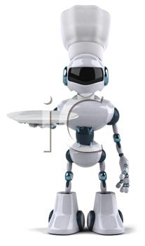 Royalty Free Clipart Image of a Chef Robot