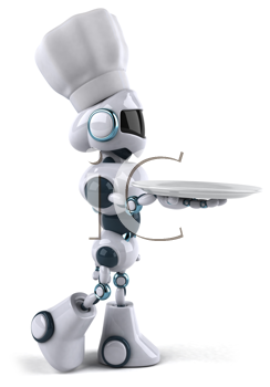 Royalty Free Clipart Image of a Robot Chef With a Palte