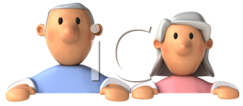 Royalty Free Clipart Image of Half an Older Couple