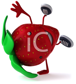 Royalty Free Clipart Image of a Strawberry Doing a Handstand
