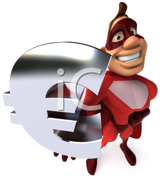 Royalty Free Clipart Image of a Superhero With an E Commerce Symbol