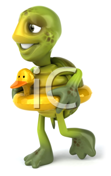 Royalty Free Clipart Image of a Turtle With a Rubber Ducky Ring