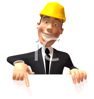 Royalty Free 3d Clipart Image of a Businessman Wearing a Hardhat and Pointing