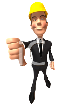Royalty Free 3d Clipart Image of a Businessman Wearing a Hardhat and Giving a Thumbs Down Sign