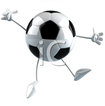 Royalty Free 3d Clipart Image of a Soccer Ball Character Jumping