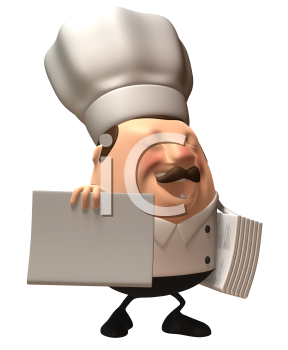 Royalty Free 3d Clipart Image of a Chef Holding an Armful of Menus