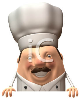 Royalty Free 3d Clipart Image of a Chef Holding a Sign Board