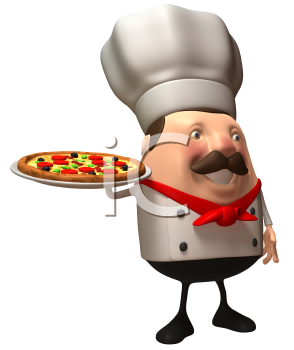 Royalty Free 3d Clipart Image of a Chef Holding a Pizza