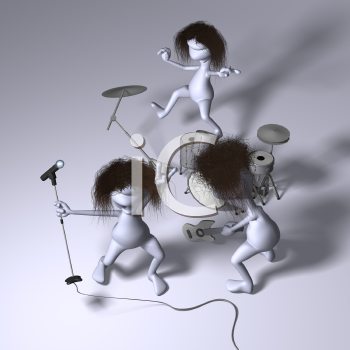 Royalty Free 3d Clipart Image of a Rock Band