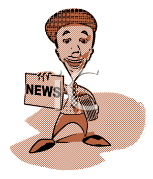 Royalty Free 3d Clipart Image of a Retro Paperboy With an Armful of Newspapers