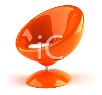 Royalty Free 3d Clipart Image of an Orange Bubble Chair