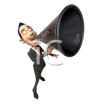 Royalty Free 3d Clipart Image of an Asian Businessman Speaking into a Megaphone