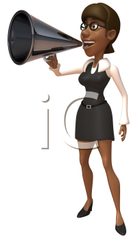 Royalty Free 3d Clipart Image of an African American Businesswoman Speaking into a Megaphone