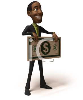Royalty Free 3d Clipart Image of an African American Businessman Holding a Large Dollar Bill