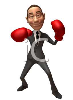Royalty Free 3d Clipart Image of a Businessman Wearing Red Boxing Gloves
