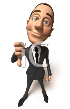 Royalty Free 3d Clipart Image of a Businessman Giving a Thumbs Down Sign
