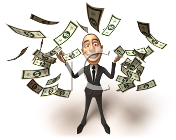 Royalty Free 3d Clipart Image of a Businessman With Money Raining Down Around Him