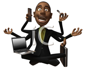 Royalty Free 3d Clipart Image of an African American Businessman Multitasking