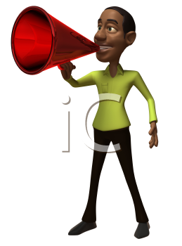 Royalty Free 3d Clipart Image of an African American Man Speaking into a Megaphone