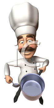 Royalty Free 3d Clipart Image of a Chef Wearing Holding a Pot and Spoon