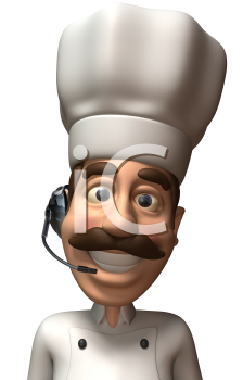 Royalty Free 3d Clipart Image of a Chef Wearing a Telephone Headset