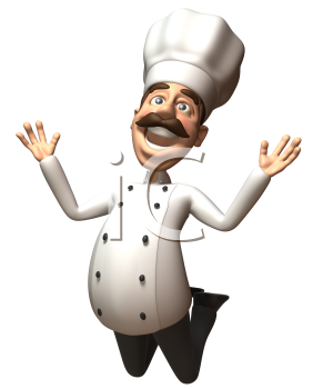 Royalty Free 3d Clipart Image of a Chef Jumping in the Air
