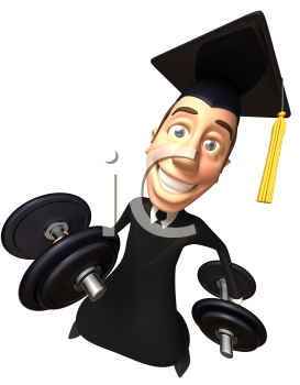 Royalty Free 3d Clipart Image of a Male Graduate Lifting Dumbbells