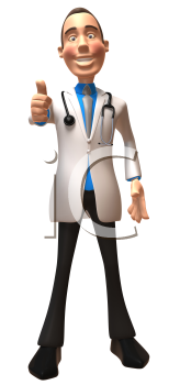 Royalty Free 3d Clipart Image of a Physician Giving a Thumbs Up Sign
