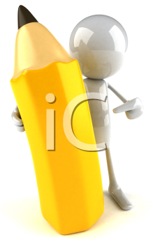Royalty Free 3d Clipart Image of a White Guy Holding a Large Pencil