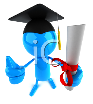 Royalty Free 3d Clipart Image of a Male Graduate Holding a Diploma