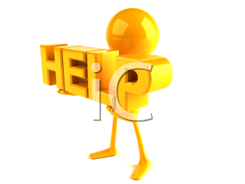 Royalty Free 3d Clipart Image of a Yellow Guy Holding Large Letters that Spell Help