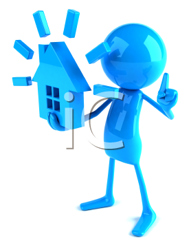 Royalty Free 3d Clipart Image of a Blue Guy Holding a Model of a House