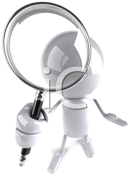 Royalty Free Clipart Image of a Dude Holding a Magnifying Glass