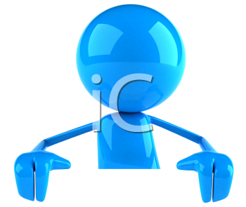 Royalty Free 3d Clipart Image of a Blue Guy Holding a Blank Sign