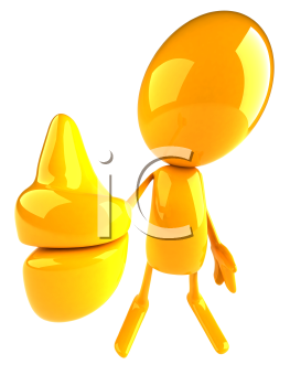 Royalty Free 3d Clipart Image of a Yellow Character Giving a Thumbs Up Sign