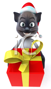 Royalty Free 3d Clipart Image of a Cat Wearing a Christmas Hat and Holding a Gift