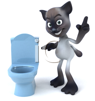 Royalty Free 3d Clipart Image of a Cat Looking at a Toilet