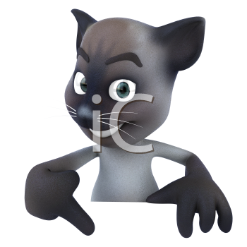 Royalty Free 3d Clipart Image of a Cat Pointing to a Sign Board