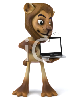Royalty Free 3d Clipart Image of a Lion Holding a Laptop Computer