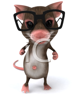 Royalty Free 3d Clipart Image of a Mouse Wearing Black Rimmed Glasses